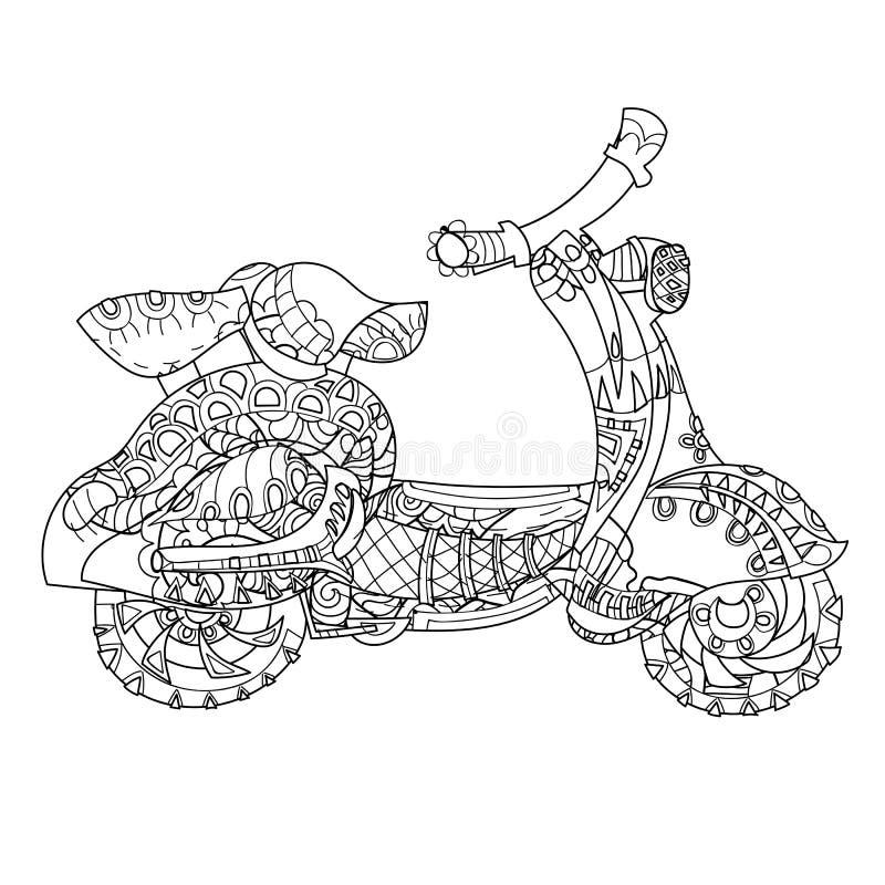 Motorowej hulajnoga doodle ilustracja wektor