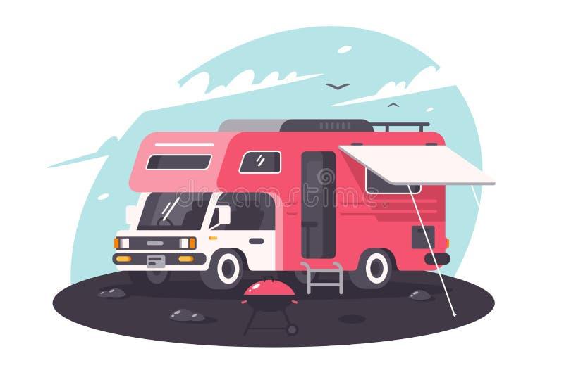 Motorowy dom na odpoczynku, parking, świeże powietrze z bbq ilustracja wektor