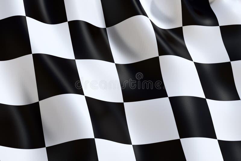 Motorowych sportów w kratkę flaga, macha w wiatrze ilustracja wektor
