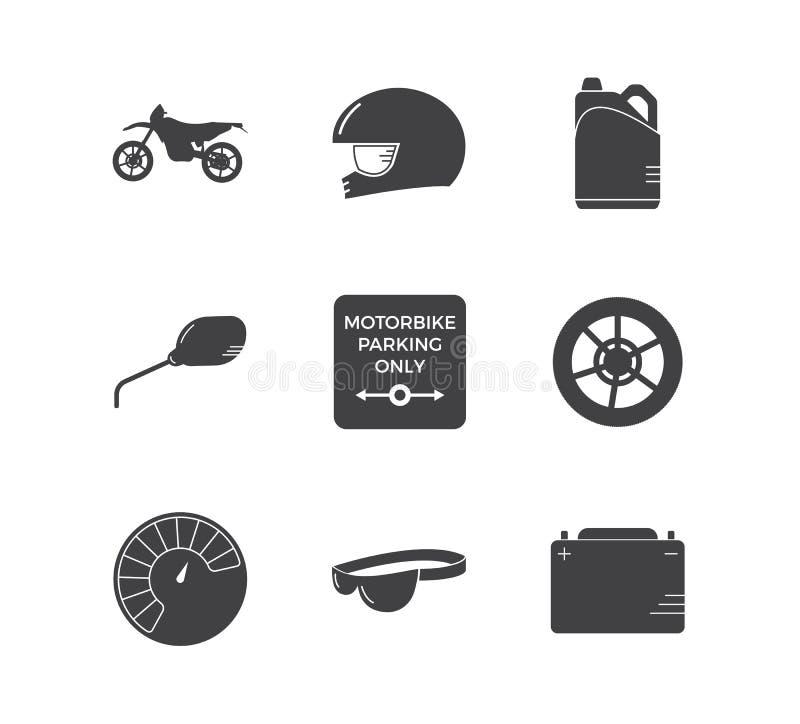Motorrad, das einfachen Ikonensatz läuft lizenzfreie abbildung