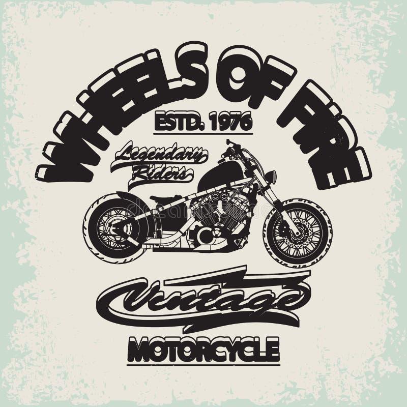 Motorrad, das Typografie-Grafiken läuft Alte Schulfahrrad lizenzfreie abbildung