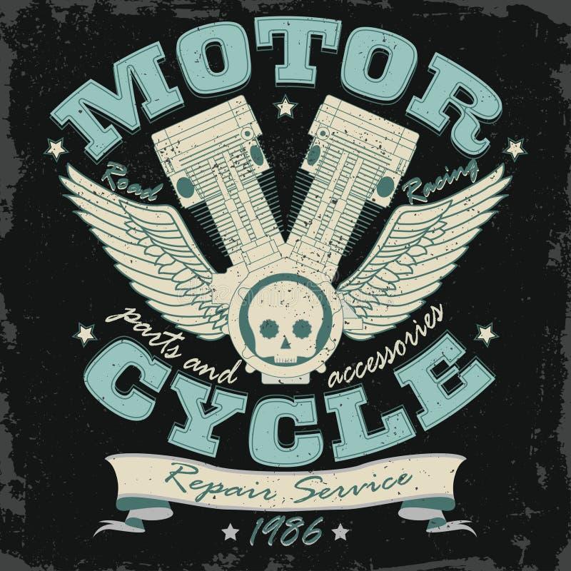 Motorrad, das Typografie-Grafiken - Vektor läuft stock abbildung