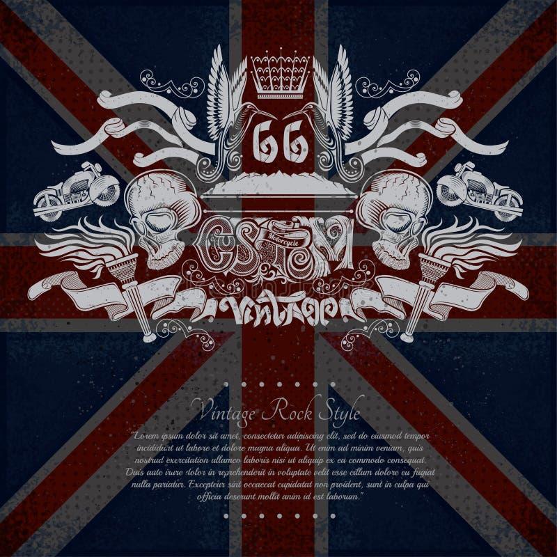 Motorrad-Grafik-Illustration auf britischem Flaggen-Hintergrund lizenzfreie abbildung