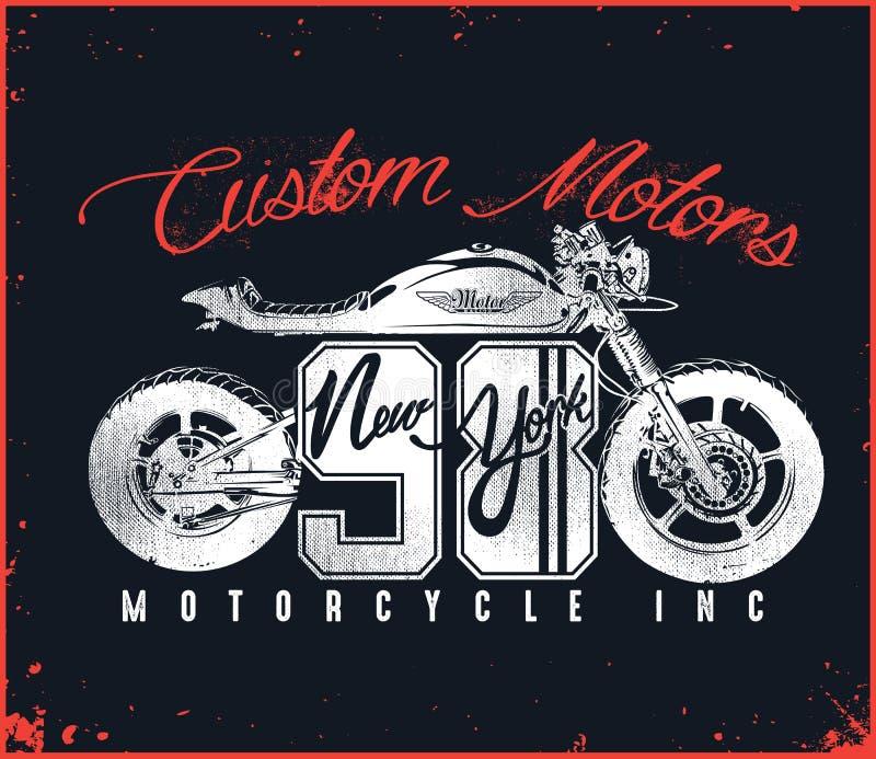 Motorrad-kundenspezifisches T-Shirt Design lizenzfreie abbildung