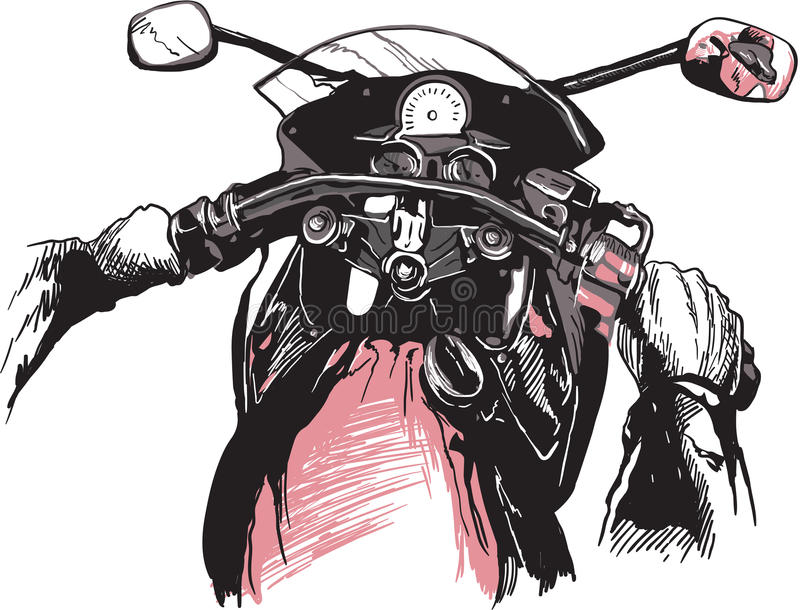 Motorrad-Lenkstangen Ein Hand gezeichneter Vektor, Freihandzeichnenzeichnung stock abbildung