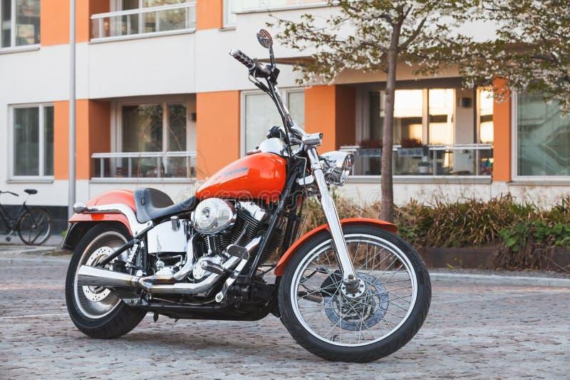 Motorrad mit Chrom, Harley-Davidson lizenzfreie stockbilder