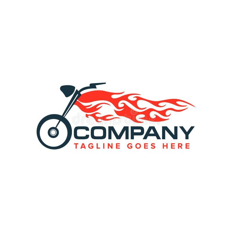 Motorrad mit Flammenlogo Auto - Rennen-Bewegungsfahrradlogo lizenzfreie abbildung