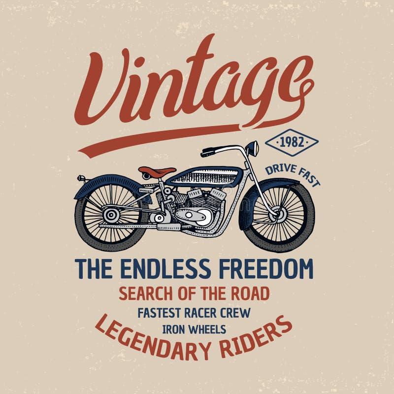 Motorrad- oder Motorradillustration Logoemblem oder -aufkleber, gravierte Hand gezeichnet in alte Skizze und Weinlesetransport stock abbildung