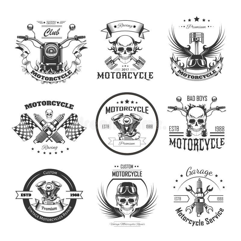 Motorrad- oder Radfahrervereinlogoschablonen stock abbildung