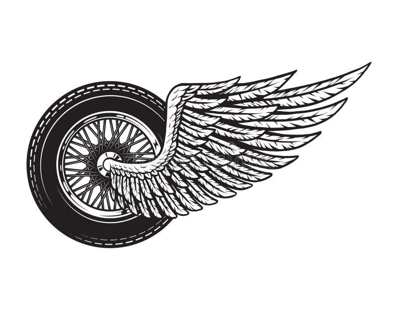 Motorrad-Radkonzept der Weinlese geflügeltes lizenzfreie abbildung