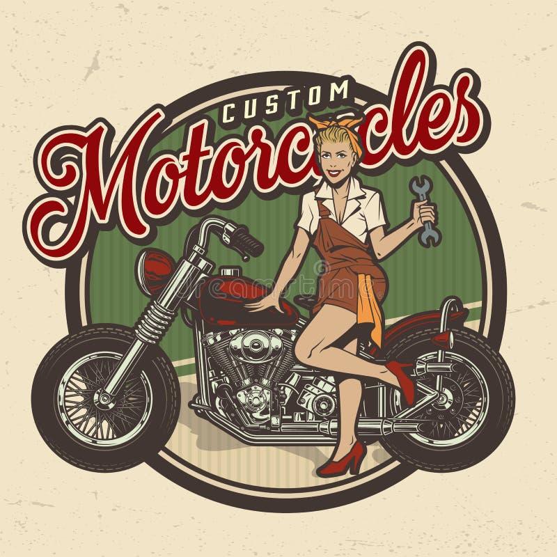 Motorrad-Reparaturservice-Logo der Weinlese buntes lizenzfreie abbildung