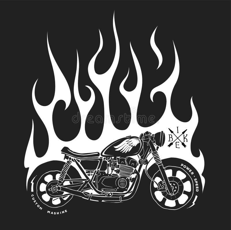 Motorrad- und Feuervektort-shirt Druckentwurf stock abbildung