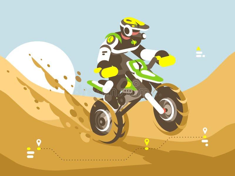 Motorradfahrer, der in der Wüste läuft vektor abbildung