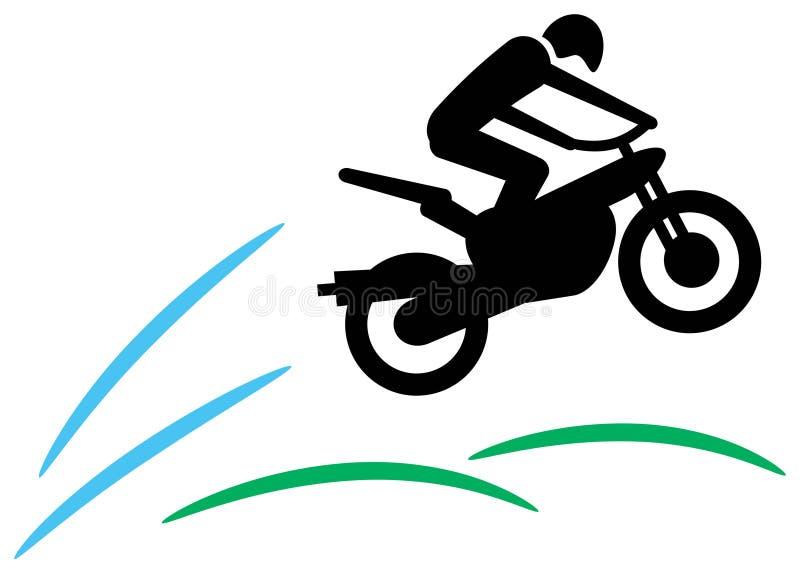 Motorradfahrer springen stock abbildung