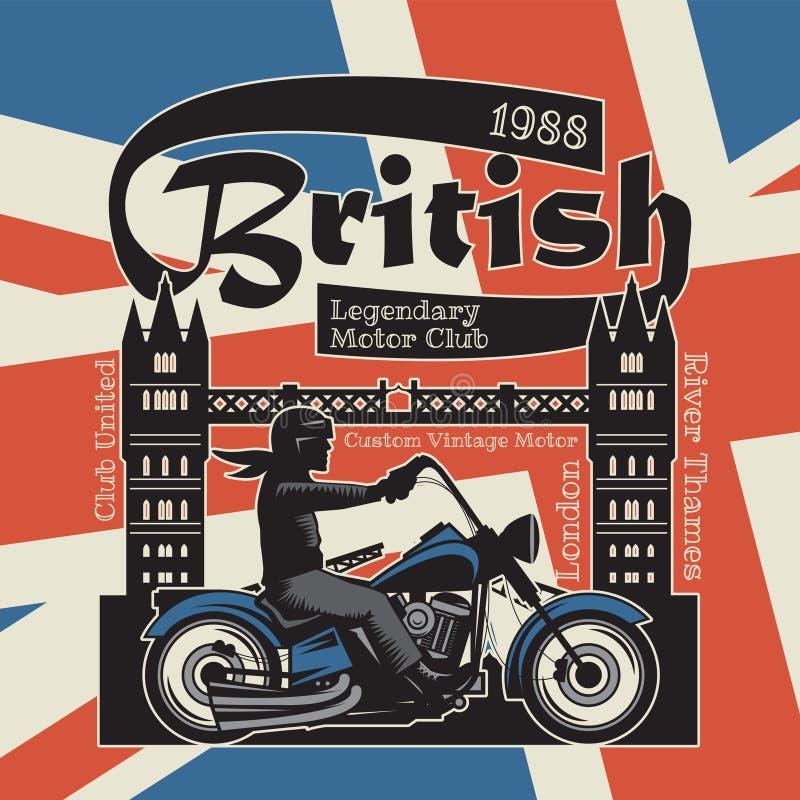 Motorradplakat mit Text Briten, legendärer Bewegungsclub stock abbildung