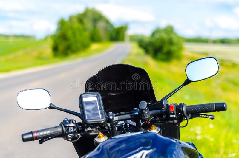 Motorradreisereisender fpv lizenzfreies stockfoto