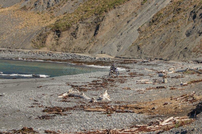 Motorradreiter auf Strand unter rotem Felsengehweg nahe Owhiro-Bucht, Wellington stockbild