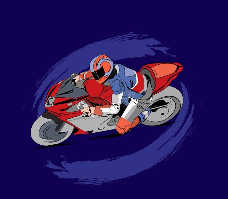 Motorradrennillustration im Vektor lizenzfreies stockbild
