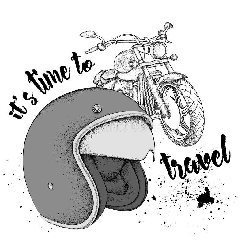 Motorradsturzhelm und Motorrad Es ` s Zeit, zu reisen Vektorillustration lizenzfreie abbildung