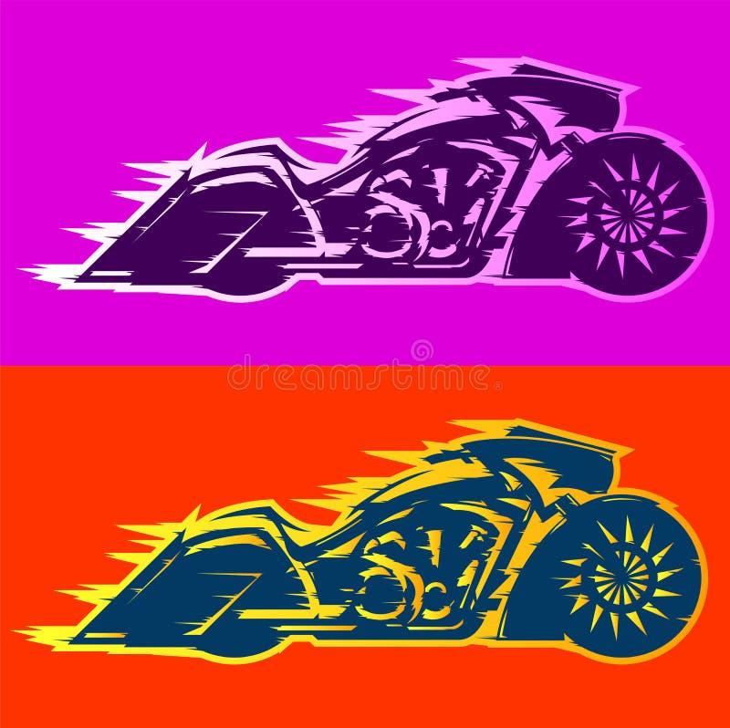 Motorradvektorillustration Baggerart, kundenspezifisches Motorrad der Baggers bedeckt in den Flammen lizenzfreie abbildung