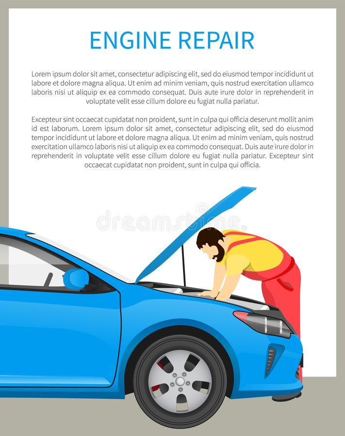 Motorreparationsprocess och upptagen mekaniker på arbete stock illustrationer
