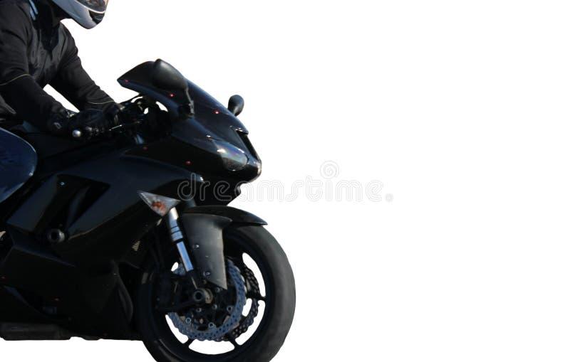 Motorrijder op een zwarte die sportfiets op witte achtergrond wordt geïsoleerd stock afbeelding