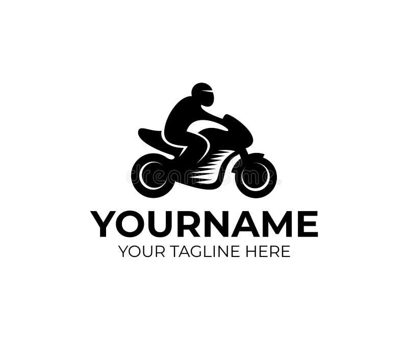 Motorrijder op motorfiets, motor, embleemmalplaatje Motosport en het rennen, vectorontwerp vector illustratie