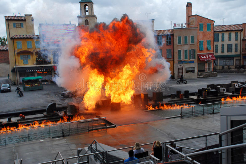 """Motors Extreme Stunt show. Called """"Lights, Motors, Action!"""" in Hollywood studio, Orlando ,Florida. The show runs for about 40 minutes of car-based royalty free stock photos"""