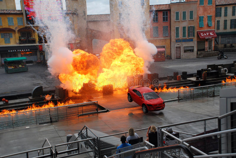 """Motors Extreme Stunt show. Called """"Lights, Motors, Action!"""" in Hollywood studio, Orlando ,Florida. The show runs for about 40 minutes of car-based royalty free stock photo"""