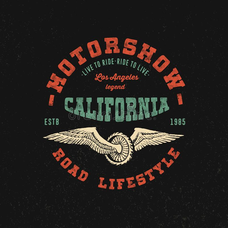 Motorshow California. Hand crafted stock illustration