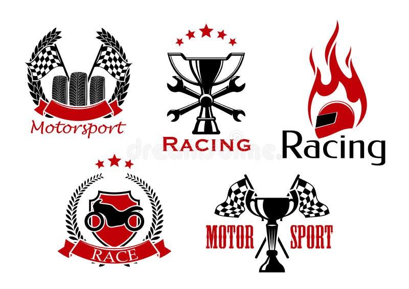 Motorsport、摩托车和赛车标志 库存例证
