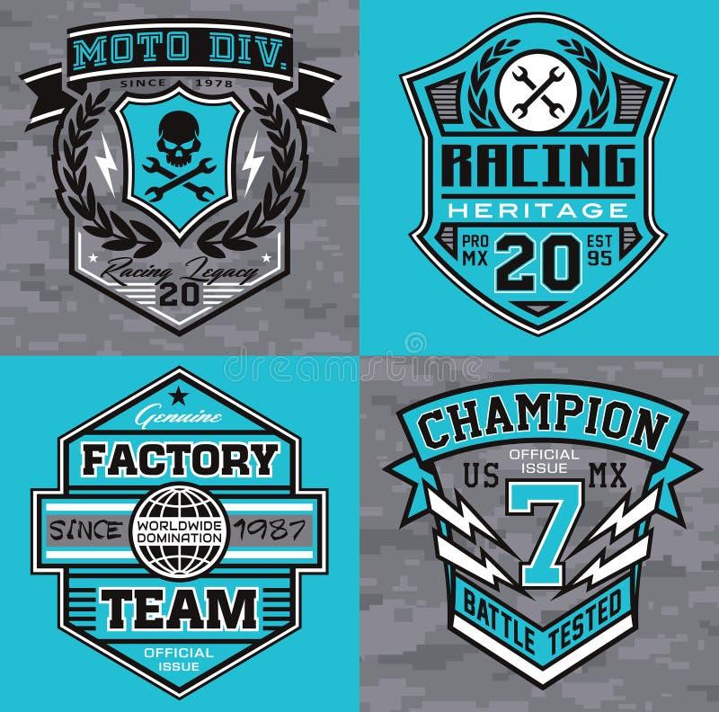 Motorsport racing emblem t-shirt graphics stock illustration
