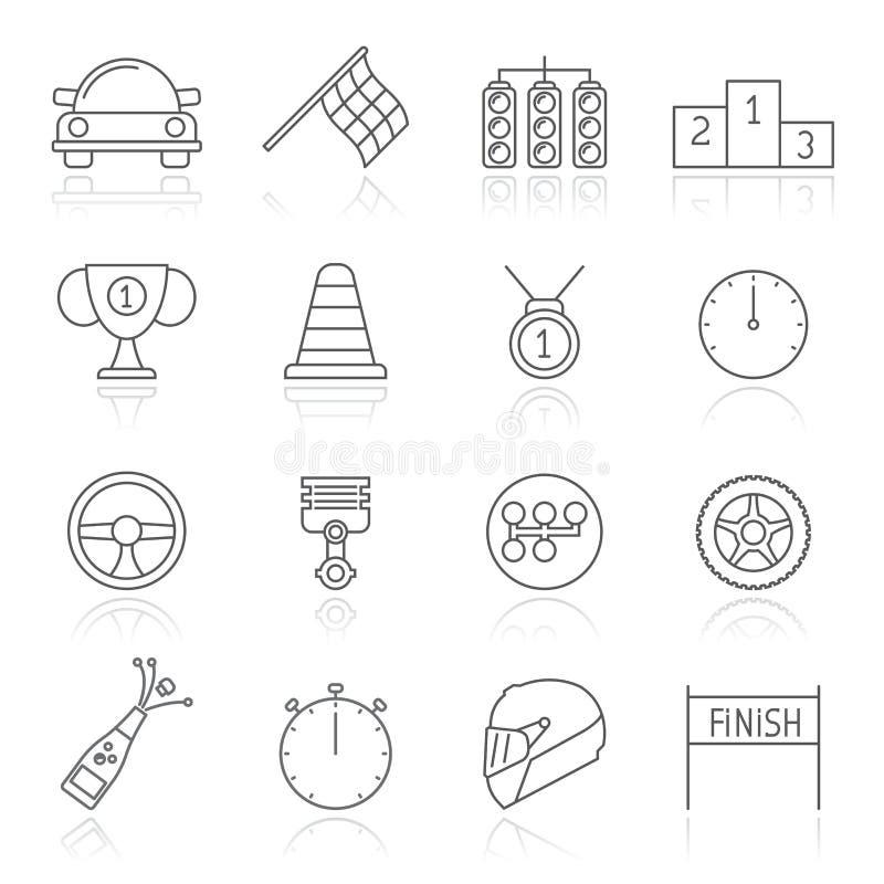 motorsporten en het rennen pictogrammen royalty-vrije stock afbeeldingen