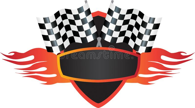 Motorsports flame and flag logo shield stock illustration