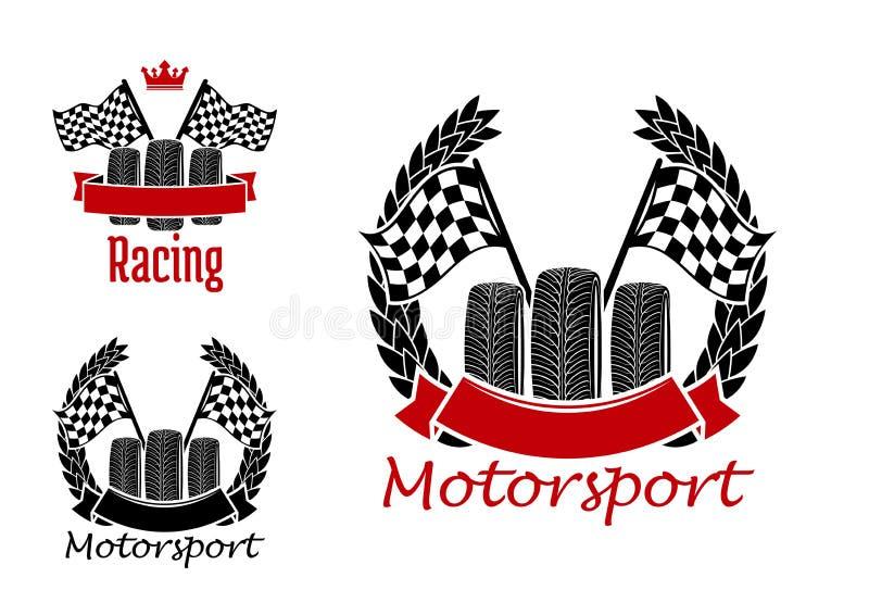 Motorsportwettbewerbsikonen mit Rädern und Flaggen vektor abbildung
