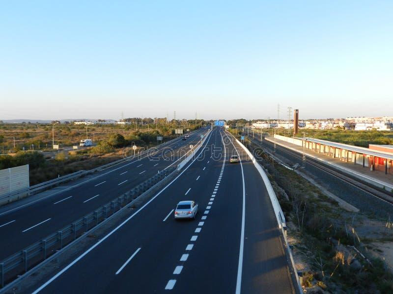 Motorväg Cadiz arkivfoto