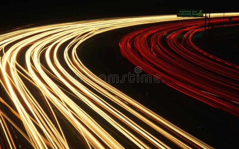 Motorväg på natten, Los Angeles, CA arkivfoto