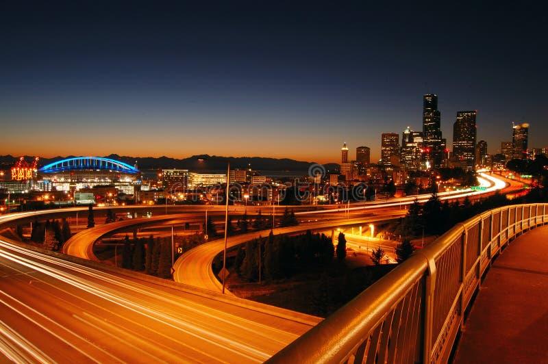 motorvägar seattle arkivfoto