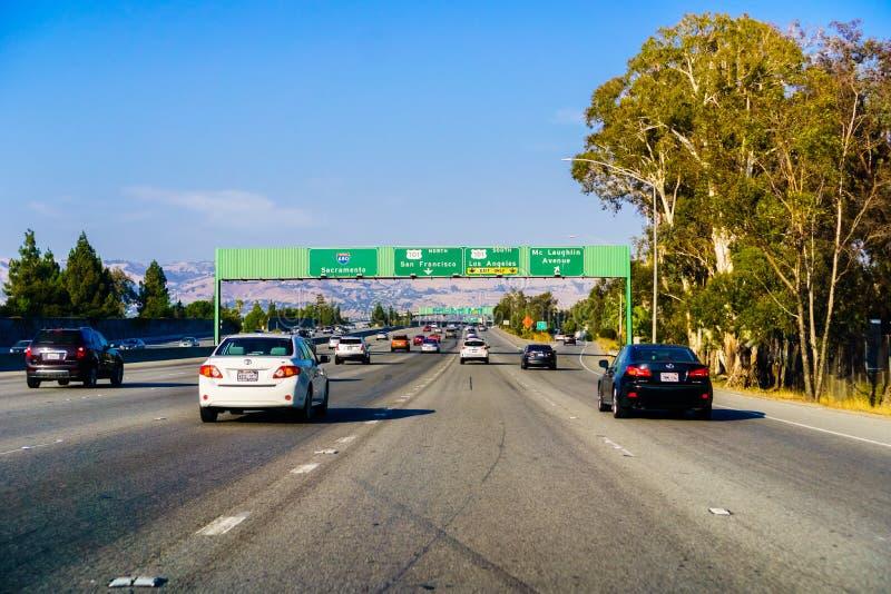 Motorvägföreningspunkt, Kalifornien arkivbild