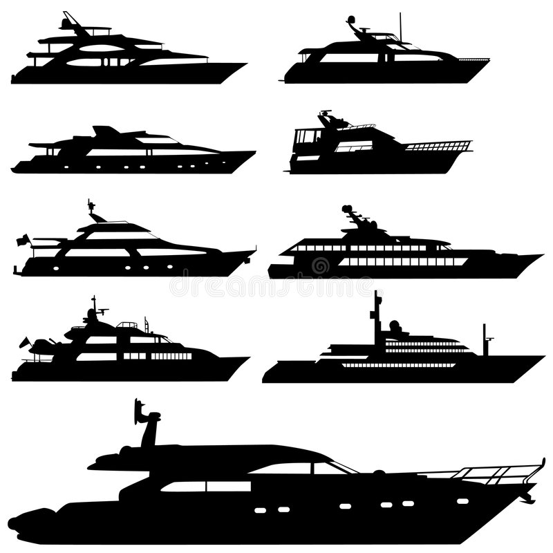 motorvektoryacht royaltyfri illustrationer