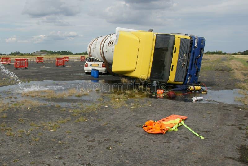 Motorway crash. Car crash, large RTC incident stock image