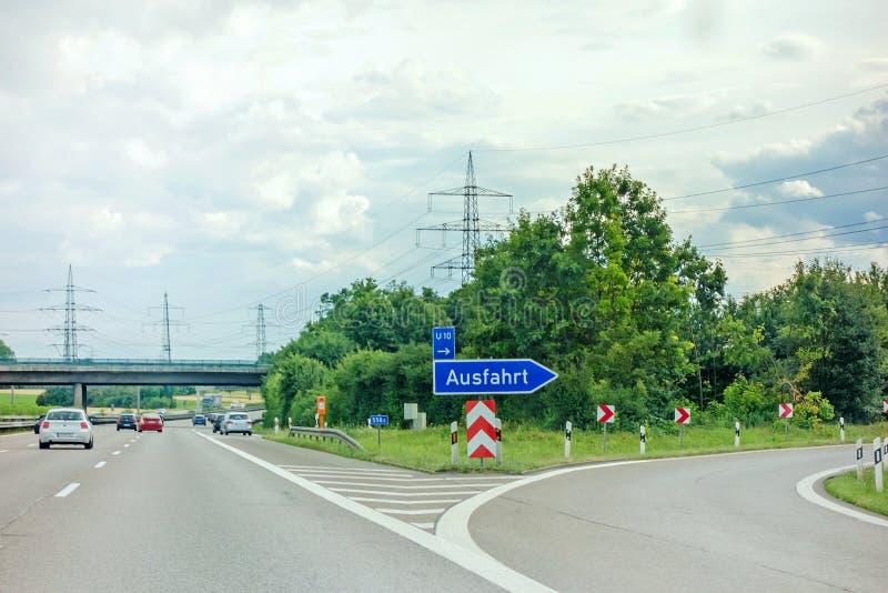 Motorway exit. Pleideslheim, Germany - June 28, 2017: Highway exit Ausfahrt german motorway Autobahn A81 near town Pleidelsheim, direction to Stuttgart / stock photos