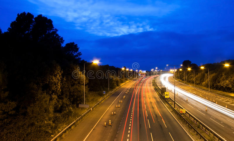 Motorway / highway at night stock images