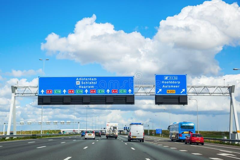 Motorway A4 i Nederländerna fotografering för bildbyråer