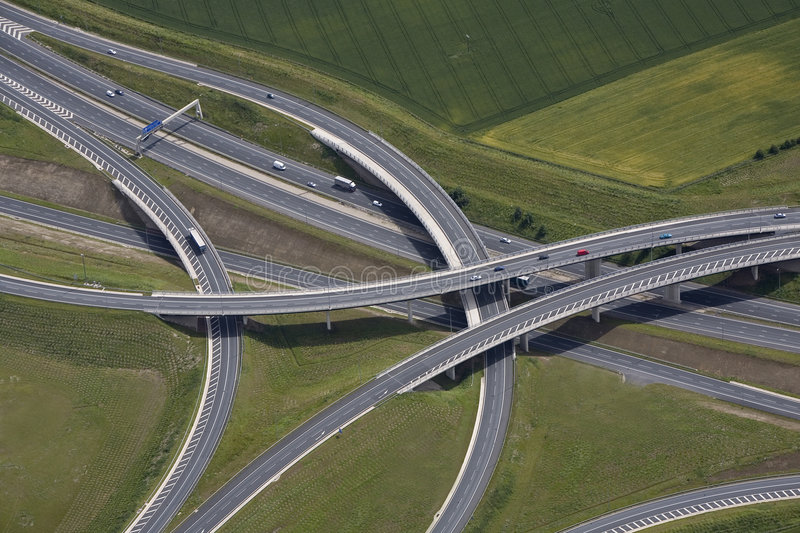 Motorway junction. An aerial view of a motorway junction and flyover royalty free stock image