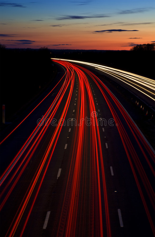 Motorway light trails royalty free stock photography
