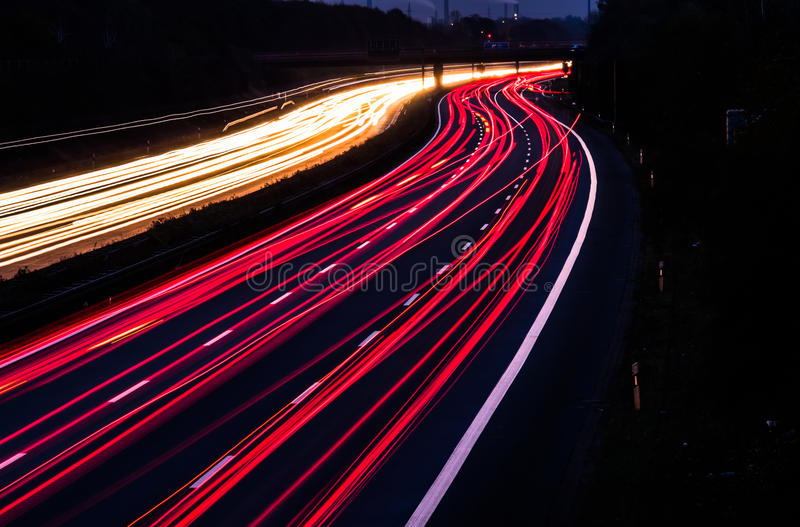 Download Motorway At Night With Fast Moving Cars Stock Photo - Image: 83709516