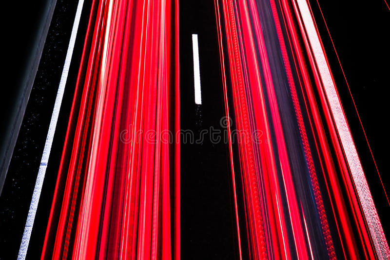 Download Motorway At Night With Fast Moving Cars Stock Photo - Image: 83710153