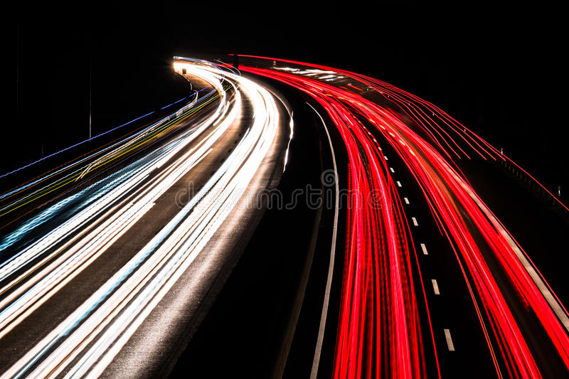 Download Motorway At Night With Fast Moving Cars Stock Photo - Image: 83710286