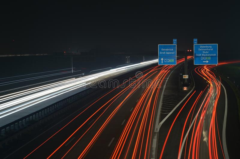 Motorway A1 at night. Night view of the A1-Motorway near Bremen in Northern Germany stock photo